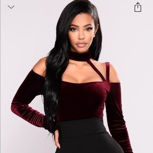 Fashion Nova Burgundy high Hopes 2 bodysuit
